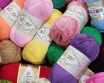 Silk effect Alize Diva microfiber acrylic yarn spring summer extra soft yarn knitting crochet dress top yarn choose color sport weight yarn