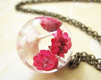 Real Flower Necklace Resin Necklace Resin Jewelry Real Flower Jewelry Botanical Jewelry Pendant Necklace