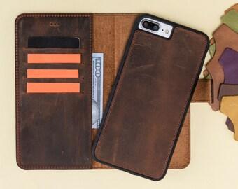 iPhone 8 Plus LEather Case, iPhone 7 Plus Leather Case, Magnetic Detachable Wallet Case Handmade for Man or Women Laser Engraving Avaliable