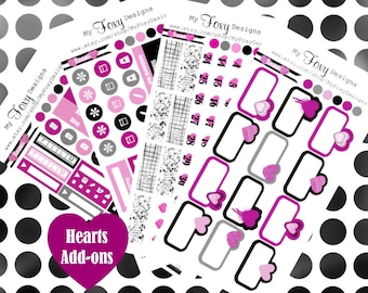 Hearts Kit Add ons, Planner Stickers