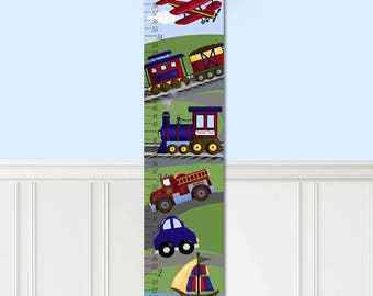 Canvas GROWTH CHART Planes, Trains and Automobiles Boys Bedroom Kids Baby Nursery Wall Art GC0086