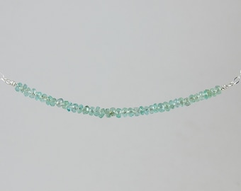 natural emerald and sterling minimalist necklace