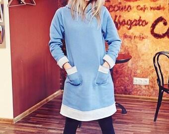Cotton Dress, Deep Blue Light Gray Dress With Pockets, Sweatshirt Cotton Dress, Outwear Top, Long tunic, Dress Top With Big Hood, Hoodie