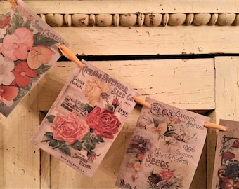 Seed garland, Botanical Garden Banner, Garden party, Vintage seed packets