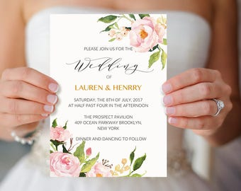 "Peony Wedding Invitation Template, Printable Pink Floral Wedding Invitation, 5x7"" Elegant Wedding Invites, DIY PDF Instant Download #104"