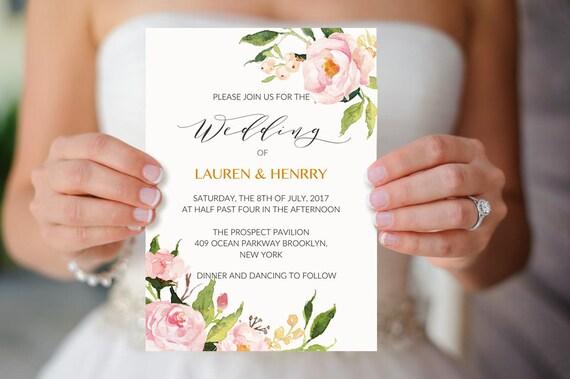 Peony Wedding Invitation Template Printable Pink Floral