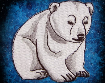 Cute Polar Bear Cub Iron on Patch ready to ship 100 percent embroidery Applique