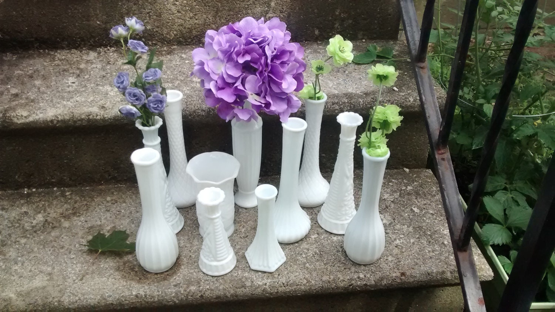 White Milk Glass Bud Vase Set Vintage Wedding Centerpiece