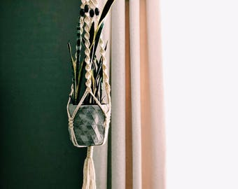 Vintage Macrame + Bead Plant Hanger  / Bohemian Hanging Plant Holder