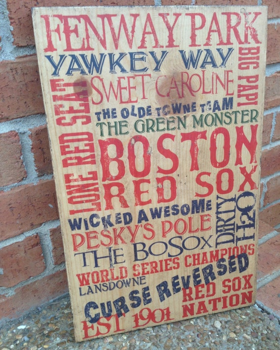 Boston Red Sox Typography Art on Wood, Red Sox Baseball Decor, Boston Red Sox Sign, Boston Red Sox Baseball Sign, Boys Baseball Room Decor