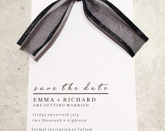 Bespoke A6 Black and White Save the dates, minimal design with black ribbon,
