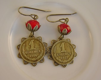 Russian Collusion - Vintage 1986 and 1987 Soviet Russia Kopeck Coins Bezels Red Glass Beads Recycled Repurposed Earrings