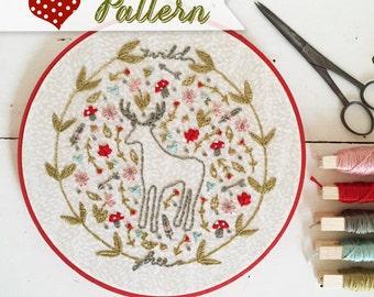 Woodlandia digital hand-embroidery pattern