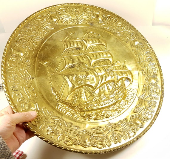Extra Large Copper Relief Plate Ship Boat VOC French Vintage