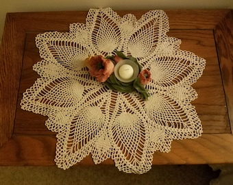 Hand crocheted table topper