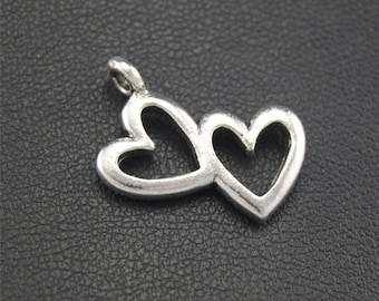 30pcs Antique Silver Heart To Heart Charms Pendant A1751