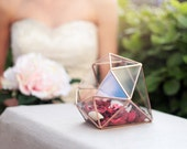Wedding Centerpiece, Glass Geometric Terrarium, Jewelry Box, Wedding Decor, Sweetheart Table Centerpiece, Copper Planter, Diamond Terrarium