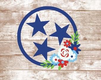 Tennessee Flag Tri Star Vinyl Decal Car Laptop Yeti Tumbler Sticker