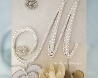 Pearl Cake Topper Wedding Cake Topper Swarovski Crystal Cake Topper Monogram Cake Topper Quinceanera Cake Topper Letter M Any letter A to Z