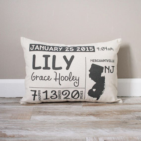 Birth announcement pillow personalized baby pillow baby like this item negle Gallery