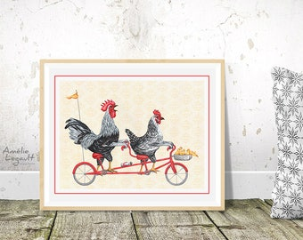 Rooster, chicken and chicks on tandem bicycle, 5 x 7, 8 x 10 and 11 x 14