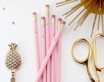 Pink and Gold Foil Heart Pencils // Bridal or Baby Shower Game Pencils, Wedding Pencils, Shower Favor, Wedding Favor, Pink Pencil, Engraved