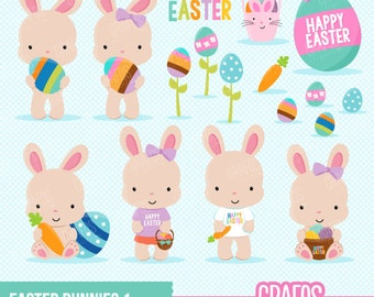 EASTER BUNNIES 1 - Digital Clipart Set, Bunnies Clipart, Easter Clipart, Rabbits Clipart,