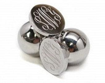 Monogrammed Silver Earrings, Ball Back Earrings, Engraved Earrings
