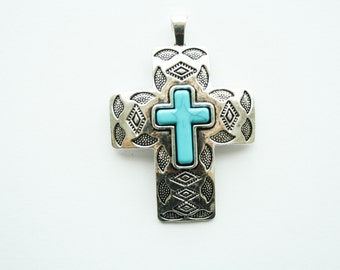 Cross Pendant Antique Silver  with Howlite Cross Center - 50x60mm - 1ct - #093