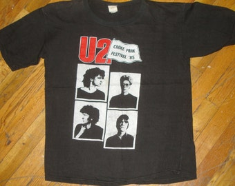 1985 U2 vintage 80's concert tour rare original rock band t-shirt Medium/Large (M/L) 80s 1980s Mens GIFT Bono Edge irish ireland