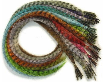 Prebonded I-Tip Extensions/Synthetic Hair Feathers, Grizzly Striped - rainbow striped hair extensions