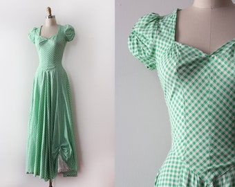 CLEARANCE vintage 1940s gown // 40s green gingham cotton gown