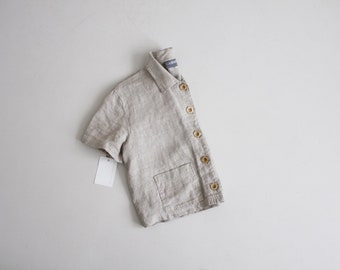 beige linen crop top | cropped blouse | collared crop top
