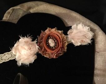 Flower headband, lace flower headband, shabby chic headband, lace headband, baby girl head wrap ,toddler headband, victorian lace headband