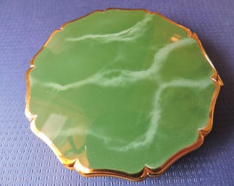 Stratton Green Enamel Marblesque Ladies Vanity Powder w/ Mirror Compact Made in England