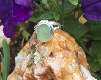 "Sterling silver and seaglass ring size""6.5 hand made"