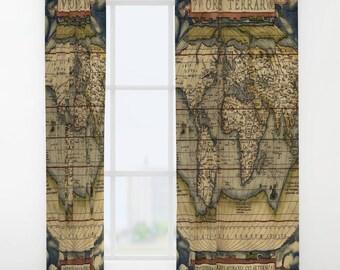 Antique World Map Window Curtain, Vintage World Map Curtain, Old Map, Dorm,Decorative,Unique Design,World Map Decor, Office Window Curtain