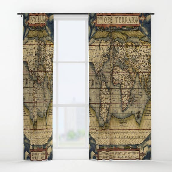 Antique World Map Window Curtain, Vintage World Map Curtain, Old Map, Dorm,Decorative,Unique Design,World Map Decor, Office Window Curtain
