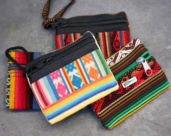 Peruvian Purses. textile bag, colourful bag, pouch, stocking filler, gift for him, gift for her, coin purse, boho purse, Rainbow, south