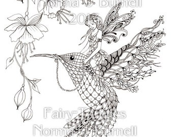 Magical Ride - Fairy Tangles Printable Adult Coloring Book Pages Fairies Hummingbird Flowers Digital Coloring Sheets by Norma J Burnell