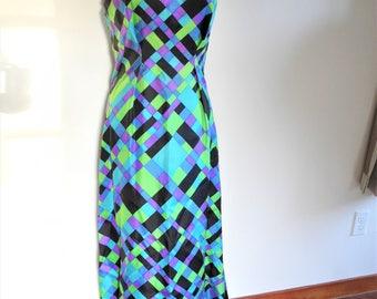 Vibrant Psychedelic 60s Maxi Dress Sleeveless V-Neck Adjustable Shoulders 70s