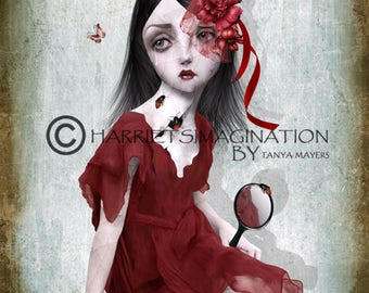 Pop Surreal | Pop Surrealism Art Print | Big Eyes Art | Broken Girl | A4 Art Print | Girl Staring at reflection | Porcelain