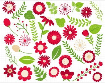 Clipart - Red Flowers / Mother's Day Clipart  - Digital Clip Art (Instant Download)