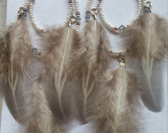 Feathered Beaded Feather earrings