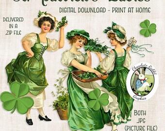 Vintage St. Patricks Day Clip Art, Digital Scrapbooking, St. Patricks Image Transfers, Printable Collage Images