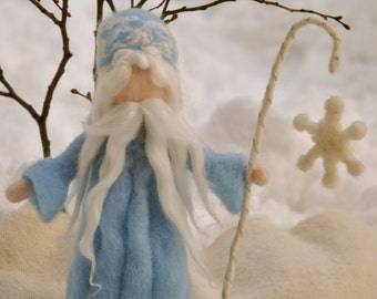King Winter Waldorf inspired Needle felted : Standing  Doll with snow flake