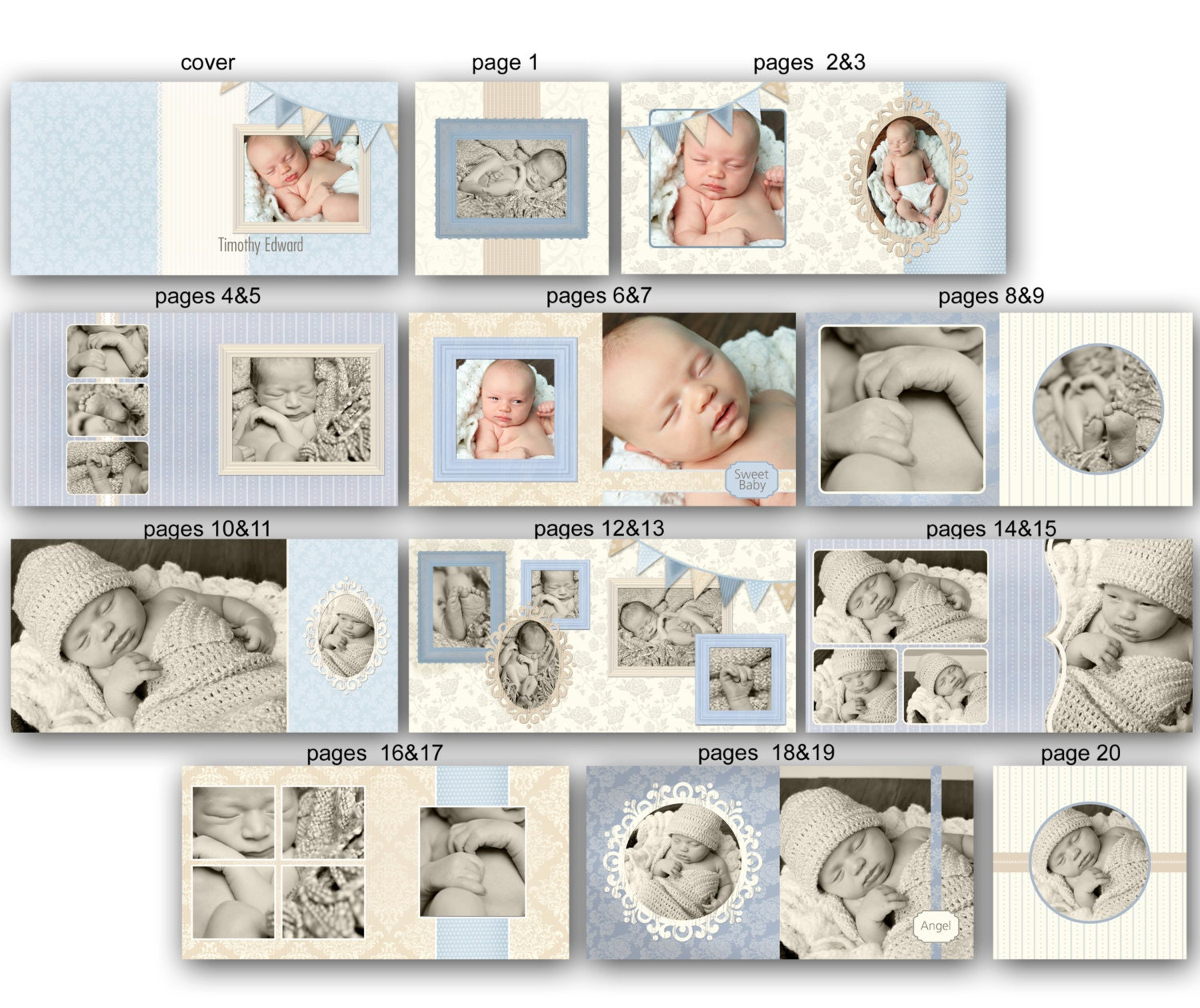 Baby Album template for Photographers Timothy 0352 FA