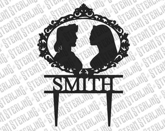 Wedding Cake Topper Personalized Pocahontas and John Smith Silhouette Laser Cut LGBT Gay Lesbian Friendly