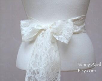 Ivory or White Lace Wedding Simple Sash/ Flower Girl Sash/ Handmade Accessory