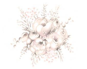 Flower Nursery Art, Baby Girl Nursery, Floral Art Print, Sweet Blush, Pencil Drawing, Baby Wall Decor, Pink Flower Art, Botanical Wall Art